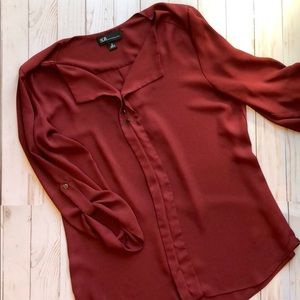 AGB Dark Red 3/4-Sleeve Blouse